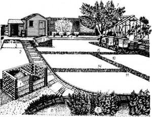 Размещение посевов и хозяйственных объектов на участке